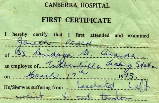 Certifacate showing that gary was employed at the Tidbinbilla Tracking Station