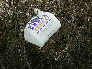 Tesco shopping bag in bushes