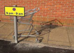 Supermarket trolley in a car parking bay