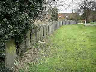 A long line of gravestones