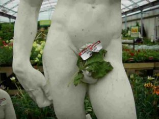 Nude statue with price tag on its parts
