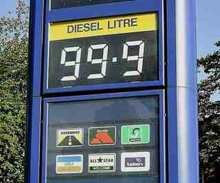 diesel fuel price at 99.9p