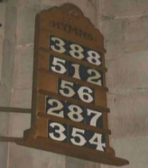 Hymn number board in a church
